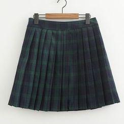 ninna nanna - Plaid Denim Skirt