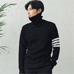 MITOSHOP - Turtle-Neck Striped-Trim Knit Top