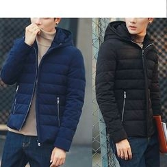 Bay Go Mall - Plain Hooded Down Jacket