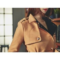 UUZONE - Wool Blend Tied-Waist Coat