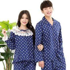 SHIRLEY - Couple Matching Pajama Set: Star Print Long Sleeve Top + Pants