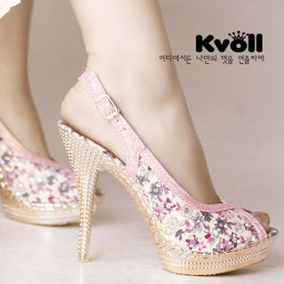 Rhinestone Floral Slingback Sandals