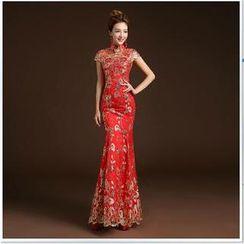 美丽至尚 - 盖袖亮片刺绣鱼尾中式礼服