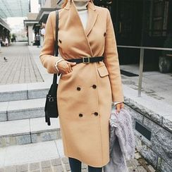 DABAGIRL - Peaked-Lapel Buttoned Wool Blend Coat