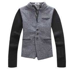 K-Style - Mandarin-Collar Knit-Sleeve Jacket