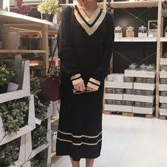 YUKISHU - Striped V-Neck Midi Sweater Dress