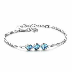 BELEC - 925 Sterling Silver with Blue Crystal Bracelet