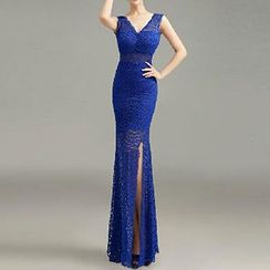 Posh Bride - Sleeveless Side Slit Sheath Lace Evening Gown