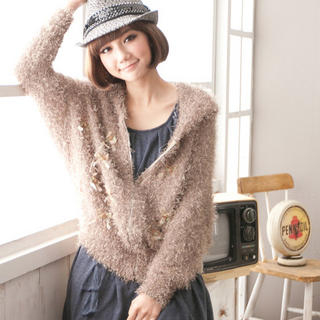 CatWorld - Rosette-Accent Furry Cardigan