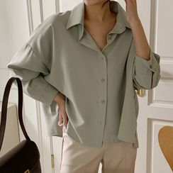Miamasvin - Frilled Printed Chiffon Top