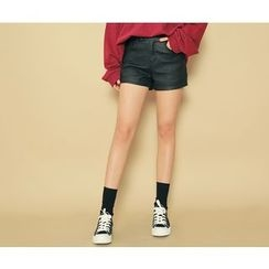 HOTPING - Cuff-Hem Faux-Leather Shorts