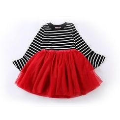 Cuckoo - Kids Stripe Panel Bell-Sleeve Tulle Dress