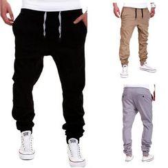 Hansel - Drawstring Cuffed Drop Crotch Pants