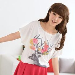 59 Seconds - Dolman Short-Sleeve Deer Print Top