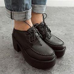 Mancienne - Platform Lace-Up Deck Shoes