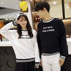Je T'aime - Couple Matching Lettering Pullover