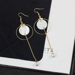 HEDGY - Disc Freshwater Pearl Drop Earrings