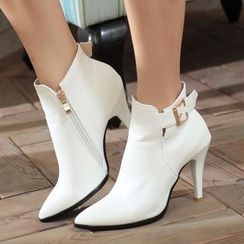 Pastel Pairs - Buckled High Heel Ankle Boots
