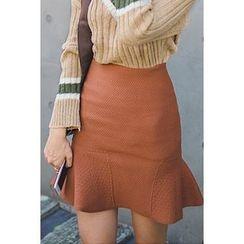 migunstyle - Band-Waist Textured Skirt