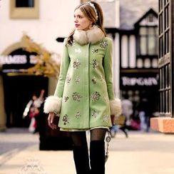 Dabuwawa - Faux-Fur-Collar Sequined Coat