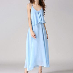 Isadora - Cross Strap Back Maxi Chiffon Dress