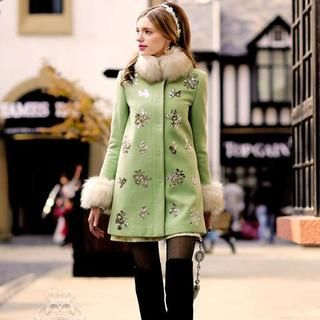 Dabuwawa - Faux-Fur-Collar Sequined Coat