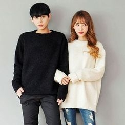 TOMONARI - Couple Wool Blend Bouclé-Knit Top