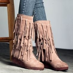MIAOLV - Fringed Platform Boots