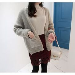 Miamasvin - Dual-Pocket Wool Blend Cardigan