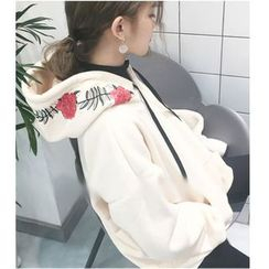 MATO - Flower Embroidered Hoodie