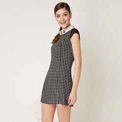 O.SA - Cap-Sleeve Check Dress