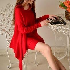 Dabuwawa - Set: Wool Blend Asymmetric-Hem Knit Top + Pencil Skirt