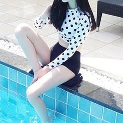 DJ Design - Set: Polka Dot Cropped Rashguard + High Waist Swim Bottom