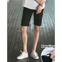 STYLEMAN - Elastic-Waist Flat-Front Shorts