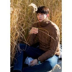 GERIO - Turtle-Neck Cable-Knit Sweater