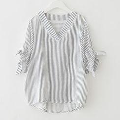 Meimei - Striped V-Neck Short-Sleeve Blouse