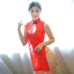 Colorful Days - Set: Lace Qipao + Thongs