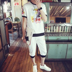 Danjieshi - Set: Print T-Shirt + Sweat Shorts