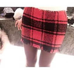 Marlangrouge - Wool Blend Check Mini Pencil Skirt