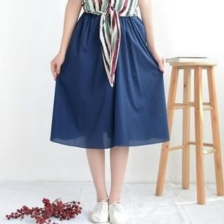 9mg - Elastic-Waist Midi Skirt