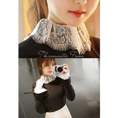 MyFiona - Lace-Cuff Slim-Fit Knit Top