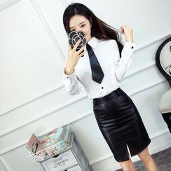 Mi Camilla - Set: Long-Sleeve Shirt + Pencil Skirt