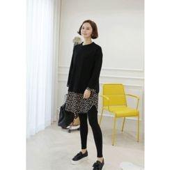 Lemite - Flora-Trim T-Shirt Dress