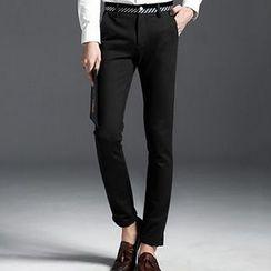 HEIZE - Stripe Trim Straight-Leg Pants