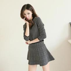Koo - Set: Round-Neck Check Top + Ruffle-Hem Mini Skirt