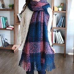 Rita Zita - 深淺格紋針織圍巾