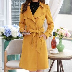 In the Mood - Double Breasted Faux Suede Trench Coat