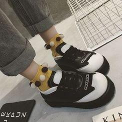 QQ Trend - 配色边厚底系带休閒鞋