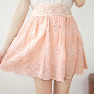 Tokyo Fashion - Lace-Waist Embroidered A-Line Skirt
