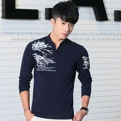 Walwa - Print Stand-collar Long-Sleeve T-shirt